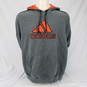 Adidas Men's Hoodie Sweatshirt Gray Orange 2XL EUC